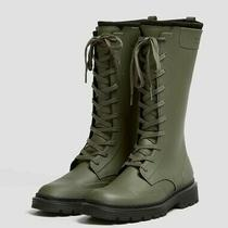 pull&bear Zara Group Rubberised Lace-Up Boots Green Khaki Rain Mountain 1078640 Photo