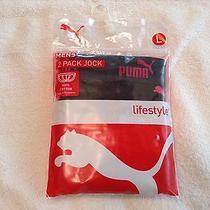 Puma 2 Pack -Cotton Jock Straps -- Large -- 100% Cotton--Black Photo