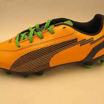 Puma Boys Youth Evospeed 5 Fg Jr Soccer Cleats 3.5 Orange Charcoal Green 102595 Photo