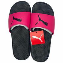 Puma Cool Cat Sport Slides Slide Sandals Black Bright Rose Pink Women's Size 9 Photo