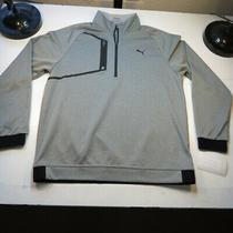 Puma Golf 1/4 Zip Athletic Sweat Shirt Sweatshirt Sz Mens L Gray Photo