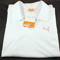Puma Golf Sleeveless Polo Shirt Size Small White Club Logo 50 Retail Photo