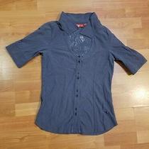Puma Grey Button Down Short Top Women Size L Photo