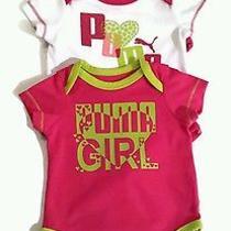 Puma  Infant Baby Girl 3pc Bodysuit Set Soft Cotton Neon Pink Green Photo