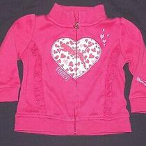 Puma Infant Girls Pink & White Sweatshirt Jacket W/ White Heart 3-6 Months Zip Photo