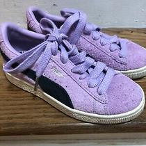 Puma Light Purple Suede Classic Black Stripe Sneakers Girls Shoes Size Y-2 Nwot Photo