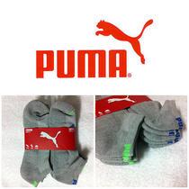 Puma Low Cut Socks - Gray- 6 Pack Shoe 6-12 - Brand New - Green Puma Logo 1505 Photo