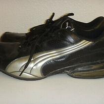 Puma Men's Sneakers Lace-Up Athletic Shoes Black & Silver Leather Size 13 Photo