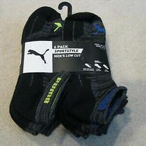 Puma Men's Sportstyle Low Cut Crew Socks 6 Pair Black Grey Blue Green New Photo