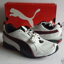Puma Men Size 8 Sneakers White Leather Cell Cerano Nib  Photo