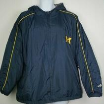 Puma Michigan Wolverines Ncaa Football Mens Jacket Coat Blue Yellow Bomber Sz Xl Photo