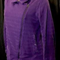 Puma Purple Striped Diagional Zip  Long Sleeve Jacket Shirt Cotton Xl Photo