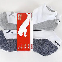 Puma Sport Lifestyle 6-Pair Low Cut Socks Men Sz 10-13 White/varigated Colors Photo