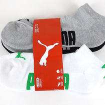 Puma Sport Lifestyle 6-Pair Premium Low Cut Socks Men Sz 10-13 Black White Gray Photo