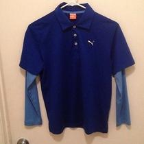 Puma Sport Lifestyle Boys Double Sleeved Blue Shirt Size L   Photo