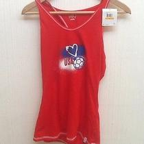 Puma Sport Lifestyle Logo I Love Usa Soccer Racer Back Red Hoodie Tank Top Small Photo