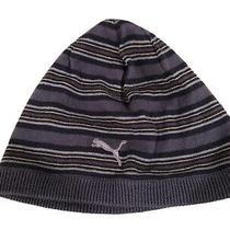 Puma Striped Steel Blue Navy Yellow Womens Lightweight Beanie Knit Hat Photo