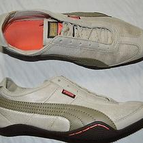 Puma Sz 8.5 M Gray Taupe Leather Fabric Mesh Lace Up Sneakers Athletic Shoes Photo