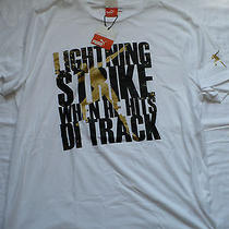 Puma T-Shirt White Usain Bolt Lightning Strike When the Hits Di Track Xl Usp New Photo
