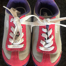 Puma Toddler Sneakers Gray Pink Purple Size 6 Girls Adorable Photo