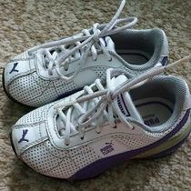 Puma Turin Baby Kids Leather Laces Sneakers Shoes Kinder-Fit Size 6 White Purple Photo