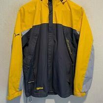 Puma Ultimate Sport Waterproof Rain Jacket Fits Size Large Men's Yellow Lined Photo