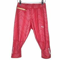 Puma Women's Capri Running Tights Red Sport Lifestyle Size Small Refelctive Exc Photo