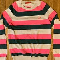 Puma Women's Long Sleeve Pullover Sweater Pink/beige/gray Stripe Size Small Photo