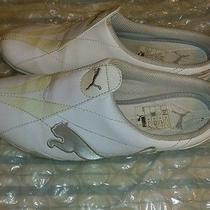 Puma Women's Slip-on Low Back/no Back Sneaker Sz 7.5 White/grey/gold Photo