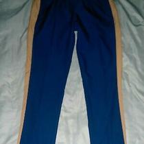 Puma Womens Drawstring Track Pant Casual Straight Leg Jogger Trouser Blue Tan Xl Photo