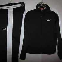 Puma Womens Track Suit Warm Up Running Jogging Jacket & Pants Set Black/white M Photo
