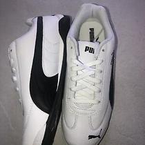 Puma Youth Boys  White & Black Leather Sneakers Sz 5 New Photo
