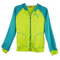 Puma Zip-Up Hoodie Lightweight Jacket Girls Size Xl Neon Green Teal Athletic Photo