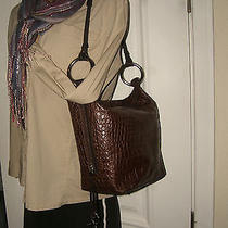 Puntotres Brown Leather Faux Croc Hobo Shoulder Bag W/ Silver Rings 11