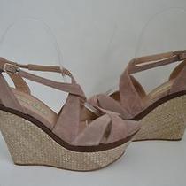 Pura Lopez Blush Suede Sandals