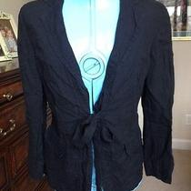 Pure Dkny Medium 100% Linen Black Top Jacket Nwot Photo