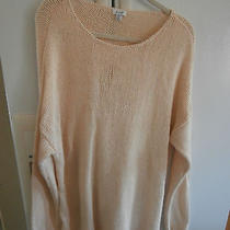 Pure J.jill Classic Long Knit Pullover 2x Blush Beige 100% Cotton Cheap Photo