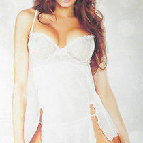 Pure Sheer Babydoll & G-String Set Light Pink Sexy by Fantasy Lingerie M or L Photo