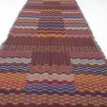 Pure Wool Shawl Stole Scarf Pashmina Embroidery Reversible Abstract Blue Missoni Photo