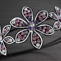 Purple Bright Swarovski Crystals 3-Flower Hair Headband Photo