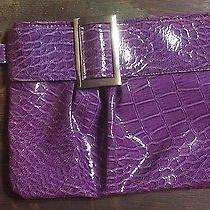 Purple Faux Croc Skin Clutch With Silver Ring Handle Photo