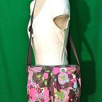Purple Gray & Pink Le Sportsac Handbag Shoulder Bag Purse Floral Botanical Nylon Photo