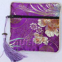 Purple Jewelry Pocket Money Silk Zipper Bags Pouches T867a03 Photo