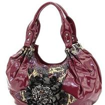 Purple Patent Leather Hobo Handbag Black Gold Snake Skin Trim Flower Accent  Photo
