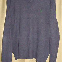 Purple Polo Ralph Lauren Green Pony v-Neck 100% Lambs Wool Sweater Medium  Photo