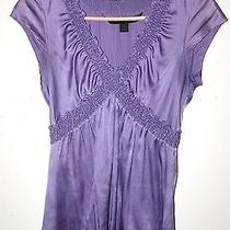 Purple Silk Blouse Express Ruched Cross Front v Neck Cap Sleeve Satin Top S Euc Photo