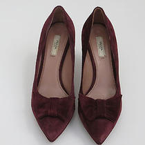 Purple Suede Prada Shoes 38.5/8.5 With Bow 85mm Heels Used Photo