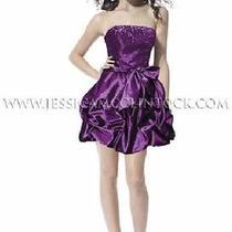 Purple Taffeta Sequinned Short Dress Size 9 Jessica Mcclintock Photo