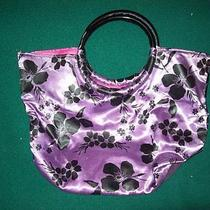 Purple  With Black Flowers Hand Bag by Avon Purple Handbag Photo