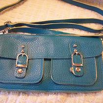 Purse Beya Aqua Leather Flat Purse W Long Strap Clutch New  Photo